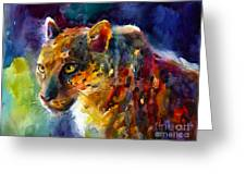 Vibrant Watercolor Leopard Wildlife Painting Greeting Card