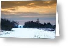 Vibrant Winter Sunrise Landscape Over Snow Covered Countryside Greeting Card
