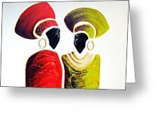 Vibrant Zulu Ladies - Original Artwork Greeting Card