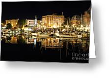 Victoria Inner Harbour At Night Greeting Card