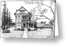 Victorian Farmhouse Pen And Ink Greeting Card by Renee Forth-Fukumoto