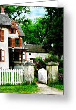 Victorian Home With Open Gate Greeting Card