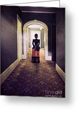 Victorian Lady In Hallway Greeting Card