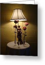 Victorian Lamp And Roses Greeting Card