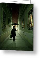 Victorian Man With Top Hat Carrying A Suitcase And Umbrella Walking In The Narrow Street At Night Greeting Card