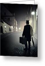 Victorian Man With Top Hat Carrying A Suitcase Walking In The Old Town At Night Greeting Card
