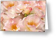Victorian Pink Roses Bouquet Greeting Card