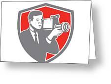 Video Cameraman Shooting Vintage Shield Retro Greeting Card