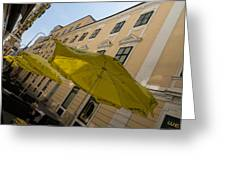 Vienna Street Life - Cheery Yellow Umbrellas At An Outdoor Cafe Greeting Card