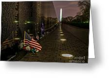 Vietnam Veterans Memorial At Night Greeting Card