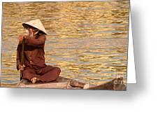 Vietnamese Boatman 01 Greeting Card
