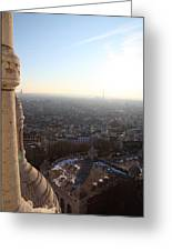 View From Basilica Of The Sacred Heart Of Paris - Sacre Coeur - Paris France - 011310 Greeting Card