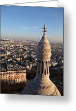 View From Basilica Of The Sacred Heart Of Paris - Sacre Coeur - Paris France - 011332 Greeting Card