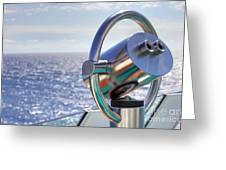 View From Binoculars At Cruise Ship Greeting Card by Lars Ruecker