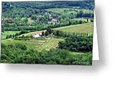 View From Castello Vicchiomaggio Greeting Card