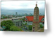 View From Temple Of The Dawn-wat Arun In Bangkok-thailand Greeting Card