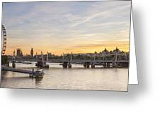 View From Waterloo Bridge Along The River Thames In London Greeting Card