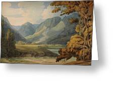 View In Borrowdale Of Eagle Crag And Rosthwaite Greeting Card