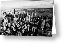 View North East Of Manhattan Queens East River From Empire State Building Greeting Card by Joe Fox