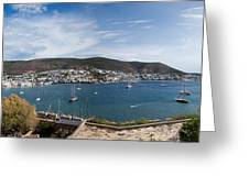 View Of A Harbor From A Castle, St Greeting Card
