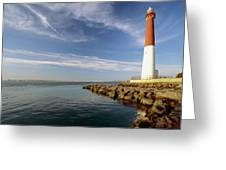 View Of A Red And White Lighthouse Greeting Card