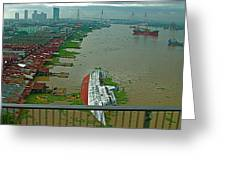 View Of A Ship On Its Side From A Bridge Near Bangkok-thailand Greeting Card