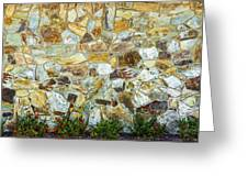 View Of A Stone Wall Greeting Card