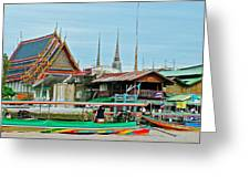 View Of A Temple From Waterway Of Bangkok-thailand Greeting Card