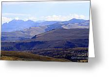 View Of Absaroka Mountains From Mount Washburn In Yellowstone National Park Greeting Card