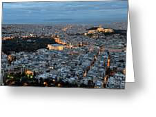 View Of Athens During Dawn Greeting Card