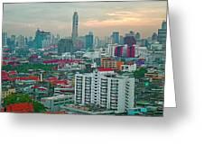 View Of Bangkok Near Dusk From Grand China Princess Hotel In Bangkok-thailand Greeting Card