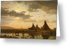 View Of Chimney Rock Ohalila .sioux Village In The Foreground Greeting Card