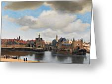 View Of Delft Greeting Card by Johannes Vermeer