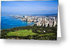 View Of Downtown Honolulu Greeting Card