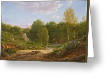 View Of Fontainebleau Forest, 1829 Oil On Canvas Greeting Card