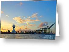 View Of Kaohsiung Harbor Entrance After Sunset Greeting Card