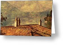 View Of Lake Como Over The Rooftop Of Villa Monastero Greeting Card