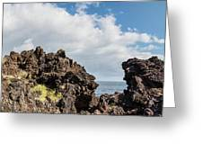 View Of Lava Rock On The Coast, Pico Greeting Card