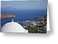 View Of Livadi Port Greeting Card