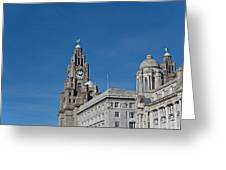 View Of Liverpool Waterfront Greeting Card