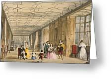 View Of Long Hall At Haddon Greeting Card by Joseph Nash