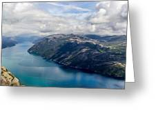 View Of Lysefjord From Preikestolen Greeting Card