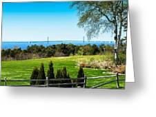 View Of Mackinac Bridge From Mackinac Island Greeting Card