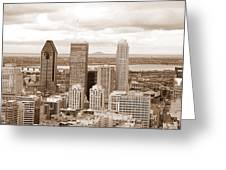View Of Montreal In Sepia Greeting Card
