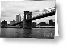 View Of New York From Beneath The Brooklyn Bridge New York Greeting Card