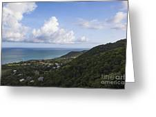 View Of Ocean And Punta Tuna In Puerto Rico Greeting Card