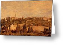 View Of Pienza And The Tuscan Landscape Greeting Card