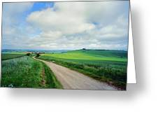 View Of Road Passing Through A Field Greeting Card