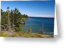 View Of Rock Harbor And Lake Superior Isle Royale National Park Greeting Card by Jason O Watson