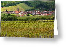 View Of Rodern From The Vineyards Of Alsace Greeting Card